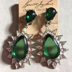 Kenneth Jay Lane Rhinestone Drop Earrings NWT Luxurious Kenneth Jay Lane Rhinestone Drop Earrings, Emerald-Hue.  Rhodium-plated hardware.  Emerald-colored glass stations.  Rhinestone surround.  Post backs.  NWT and original pouch. Kenneth Jay Lane Jewelry Earrings