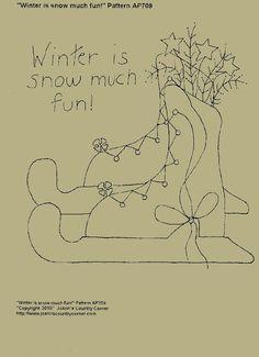 Winter is snow much fun. Primitive Stitchery E-PATTERN