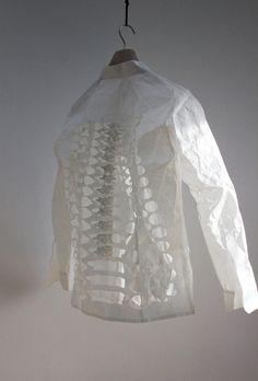 Skeleton Shirt, 2015 Shirt made from zairei Japanese paper - paper cut art by Peter Callesen Peter Callesen, Skeleton Shirt, Japanese Paper, Paper Cutting, Book Art, Sculpture, Couture, Cool Stuff, Books