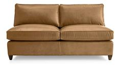 Dryden Leather Armless Loveseat shown in Libby, Amaretto Leather Loveseat, Family Room Decorating, Modern Sectional, Engineered Hardwood, Natural Leather, Crate And Barrel, Seat Cushions, Crates, Love Seat