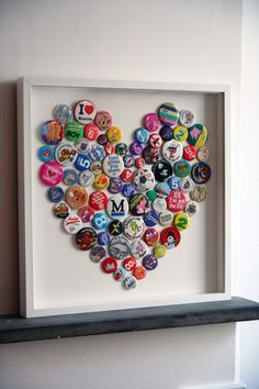 Good idea for all those old pins!I was also thinking bottle caps or painte coke tops for a room/ bar decor etc... bringing the new year with friends have a bucket to collect them all and write the year with the stash and place a picture with all the guest!