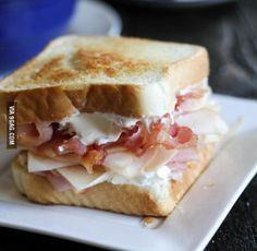 Chicken Cordon Bleu Sandwich with Chicken, Honey Ham, Bacon, Swiss and Cream Cheese on Texas Toast
