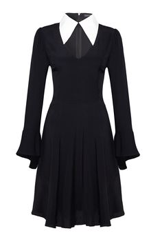 Great black dress with white collar. I'd take the flare off of the wrists, but other than that, I love it. Because Wednesday Addams is apparently my fashion icon.