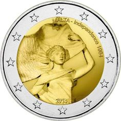 N♡T.2 euro: 50 Years of Independence.Country:	Malta  Mintage year:	2014 Face…