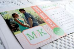 Save the Date Photo Magnet – Wedding, Monogram, Pink and Green Save the Date, Wedding Photo Magnet, Save the Dates - DEPOSIT