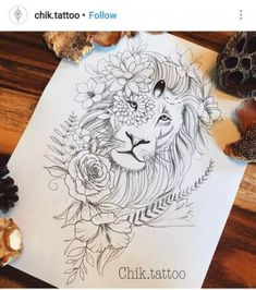 Tattoo Thigh Lion Flower New Ideas Tattoos Motive, Leo Tattoos, Arrow Tattoos, Body Art Tattoos, Tatoos, Trendy Tattoos, Cute Tattoos, Flower Tattoos, Lion Tattoo With Flowers