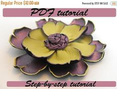 40% OFF SALE Leather flower tutorial. Fantasy flower PDF