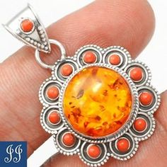 112421-BALTIC-AMBER-RED-CORAL-925-STERLING-SILVER-PENDANT-CHAIN-JEWELRY