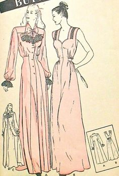 BUTTERICK 3709 VINTAGE SEWING PATTERN 1940s GLAMOROUS NIGHTGOWN and FITTED NEGLIGEE ROBE LOVELY DESIGN DETAILS