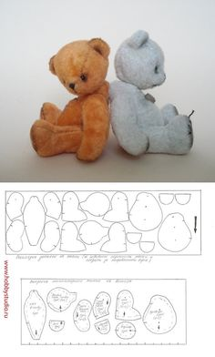 Pattern for a very sweet and appealing teddy bear.#sewing