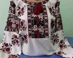 Items similar to Ukrainian embroidery on Etsy Mexican Quinceanera Dresses, Blouse Models, Embroidery Techniques, Embroidered Blouse, Ukraine, Long Sleeve Tops, Floral Tops, Kimono Top, Trending Outfits