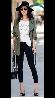 Green utility jacket  Black skinny pants  White tshirt  Pumps  Outfit  Black hat