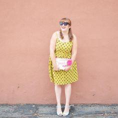 Yellow polka dot dress   @room334