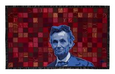 Luke Haynes, Abraham Lincoln (2009) 45 inches x 75 inches Quilt www.textilecurator.com
