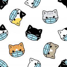Wallpaper Gatos, Cat Wallpaper, Kawaii Wallpaper, Posters Geek, Cat Pattern Wallpaper, Kawaii Cat, Cartoon Icons, Cat Face Mask, Kawaii Drawings