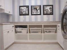 laundry room decorating ideas take off the cupboards and slide baskets in