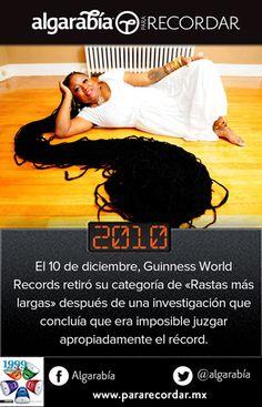 10 de diciembre de 2010, se retira la categoría de «Rastas más largas» de los récords Guinness http://pararecordar.mx/