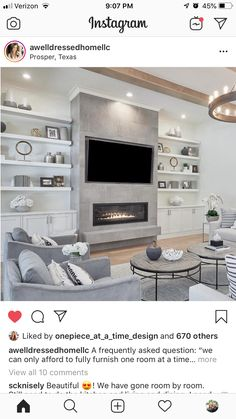 Built In Shelves Living Room, Feature Wall Living Room, Living Room Wall Units, Home Design Living Room, Living Room Grey, Living Room Modern, Family Room Design With Tv, Alcove Ideas Living Room, Classy Living Room