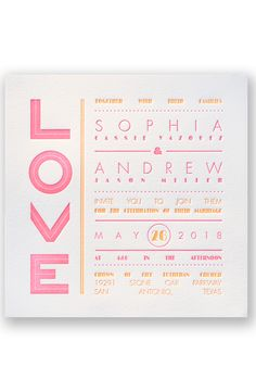 Typography Love Letterpress Wedding Invitation by David's Bridal   Follow us and start pinning pretty paper options - from invitations and save the dates to programs and table numbers - for a chance to win $1,000 to InvitationsbyDavidsBridal.com. Enter here: http://sweeps.piqora.com/rsvpready