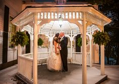 A romantic moment in the Century House gazebo