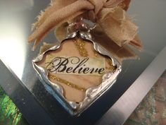 BELIEVE   Soldered Glass Pendant or Charm by victoriacharlotte, $6.75