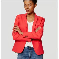 LOFT Doubleweave Blazer ($128) ❤ liked on Polyvore featuring outerwear, jackets, blazers, tomato, long sleeve jacket, red long jacket, tailored jacket, lined jacket and long red blazer