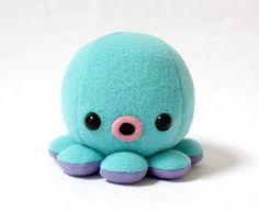 Baby Octopus Plush in Aqua Blue por cheekandstitch en Etsy