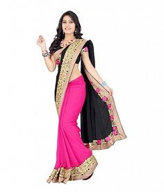 Black and Pink Embroidered Bollywwod Georgette Saree@ Rs.864.00
