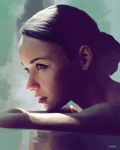 Artist: Bogdan Tomchuck {figurative art beautiful female head profile woman face portrait digital painting #loveart}