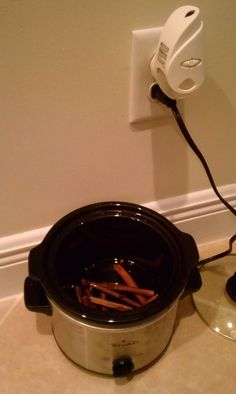 i didn't find this on pinterest. but i did successfully make my house smell delicious by simply adding whole cloves and cinnamon sticks to a crock pot on high.