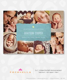 Photoshop Templates for Pro Photographers - Modern Birth Announcement Card Photoshop Design Template by FOTOVELLA