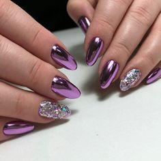 34 eye-catching chrome nail art designs for 2019 36 Chrome Nails Designs, Manicure Nail Designs, Purple Nail Designs, Nail Manicure, Nail Art Designs, Gel Nails, Purple Chrome Nails, Chrome Nail Art, Purple Nail Art