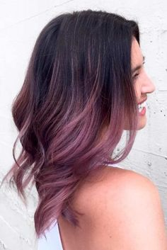 28 Trendy Lilac Hair Shades - Maybe, someday. - 28 Trendy Lilac Hair Shades - Maybe, someday. Ombre Hair Long Bob, Ombre Hair Color, Cool Hair Color, Purple Hair, Lilac Color, Gray Hair, Violet Brown Hair, Rose Gold Hair Brunette, Brown Skin