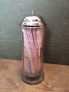 Straw Dispenser by Table Craft | CKKFindsDesigns  A vintage-style straw dispenser to store makeup brushes
