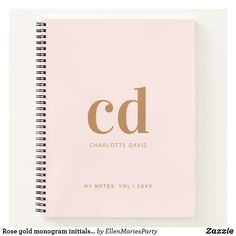 Rose gold monogram initials elegant notebook Notebook Covers, Monogram Initials, Page Design, Notebooks, Rose Gold, Make It Yourself, Elegant, Handmade, Things To Sell