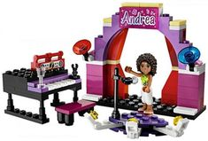 Buy LEGO Andrea's Stage Set from This LEGO Friends set contains 89 pieces including 1 minifig. Lines For Girls, Lego Friends Sets, Lego Furniture, Lego Girls, All Lego, Lego Toys, Cool Lego Creations, Stage Set, Babies R Us