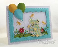 Oh the cuteness! Love this card by @kittie747 using patterned paper and dies. #EllenHutsonLLC