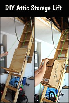 Attic storage attic storage idea i have a difficult attic blown need to store boxes in your attic this diy attic storage lift will help make the work faster and easier solutioingenieria Gallery