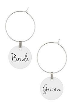 Wedding Wine Glass Charms Bride and Groom Set