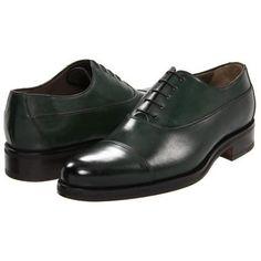 A. Testoni Laced Up Cap Toe Oxford Men's Lace Up Cap Toe Shoes - Olive