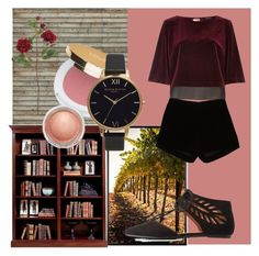 """""""Velvet Top"""" by funkykat345 ❤ liked on Polyvore featuring Mr Perswall, Pottery Barn, Andrew Gn, River Island, Olivia Burton, MAC Cosmetics and Bamboo"""