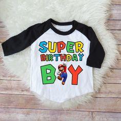 Super mario brothers birthday shirt- birthday boy shirt, super mario party, super mario birthday, kids birthday, kids birthday raglan, MF by JADEandPAIIGE on Etsy https://www.etsy.com/listing/581302538/super-mario-brothers-birthday-shirt