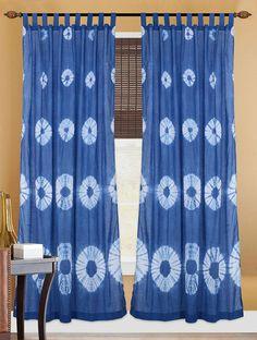 Indigo-White Handcrafted Shibori Cotton Curtain  #saree #indian #indiantiedye #bandhani #shibori #naturaldyes #handmade #resistdyeing #DIYcraft #dress #cotton #muslin #madeindia #jaypore #indianhandicrafts #japanesetechnique #toptrend2018 #tiedye Tie Dye Curtains, Tie Dye Bedding, Cotton Curtains, Diy Curtains, Turquoise Curtains, Shibori Fabric, Traditional Family Rooms, Tie Dye Crafts, Scrappy Quilts