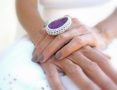 Crochet Agate Ring Purple Adjustable Ring Silver Yarn by JustColor, $36.00