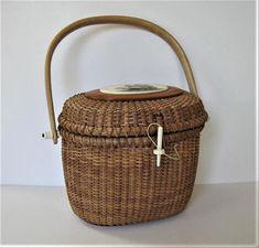 Vintage Barlow Nantucket basket purse Sailing ship scrimshaw
