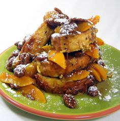 Peaches and Pecan Praline Sauce over AUTHENTIC FRENCH TOAST...Oh My GOD... So decadent, but SOOOO GOOD...  Amazing thick custard like bread (think Bread Pudding) topped with Peaches and a rich delicious New Orleans classic Pecan Praline Sauce...  DELICIOUS!!!                                                                  Inspired By eRecipeCards: French Toast with Peaches and Pecan Praline Sauce