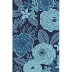 Give your porch or patio conversation an eye-catching anchor with this nature-inspired rug, featuring an oversized floral motif in a soothing blue palette.