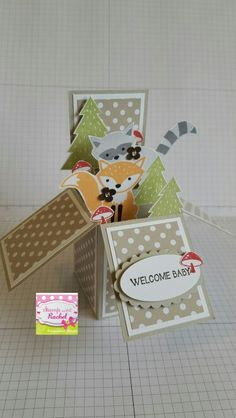 Baby Card in a box made using Stampin' Up! Baby card, baby card in a box. Stamp with Rachel Fun Fold Cards, 3d Cards, Folded Cards, Cute Cards, Foxy Friends Punch, Pop Up Box Cards, Card Boxes, Exploding Box Card, Stamping Up Cards