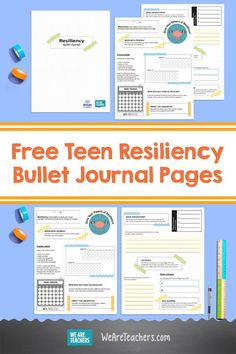 Free Resiliency Bullet Journal Pages That Help Kids Track Habits. These free teen resiliency bullet journal pages will help kids track their habits and think about how to build their resiliency skills. #printables #habitskills  #socialemotionallearning #mindfulness #teaching #classroomideas #teachingresources We Are Teachers, Middle School Teachers, Elementary Teacher, Social Emotional Learning, Social Skills, Free Teaching Resources, Free Teen, Help Kids, Growth Mindset