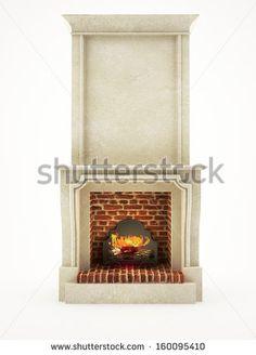 stone fireplace isolated on white